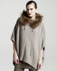 Brunello Cucinelli | Brown Fur-collar Cashmere Poncho | Lyst