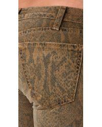 Current/Elliott - Gray Boa Print Ankle Skinny Jeans - Lyst