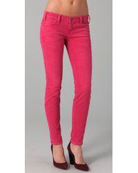 Current/Elliott | Pink The Ankle Corduroy Skinny Pants | Lyst