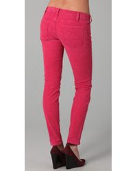 Current/Elliott | Pink The Ankle Corduroy Skinny Pants | Lyst