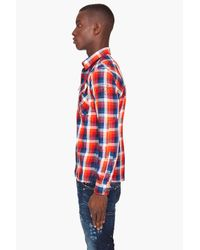 G-Star RAW | Blue Tunnel Louis Long Sleeve Plaid for Men | Lyst