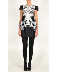 Tibi   Black Rococo Print Silk Twill Cap Sleeve Dress   Lyst