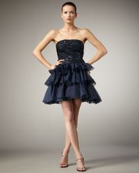 Alberto Makali | Blue Strapless Tiered Full-skirt Dress | Lyst