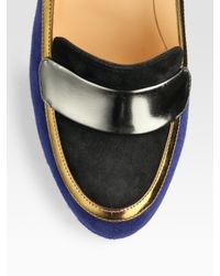 Christian Louboutin   Blue Trotitella Loafer Suede and Metallic Leather Pumps   Lyst