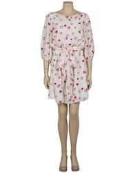Halston | Red Embellished Heart Print Dress | Lyst