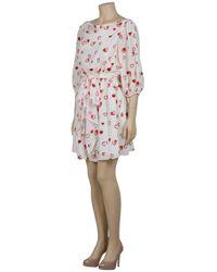 Halston   Red Embellished Heart Print Dress   Lyst