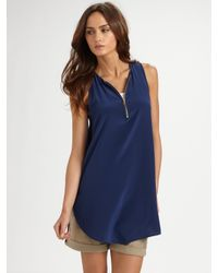 VINCE | Blue Silk Zip-front Tunic | Lyst