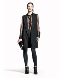 Alexander Wang - Black Tulle Shirt with Leathercombo - Lyst