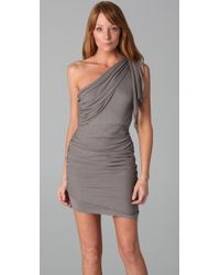 Alice + Olivia - Gray One Shoulder Drape Dress - Lyst