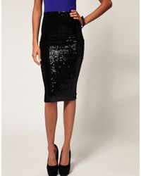 ASOS Collection Black Asos Pencil Skirt in Sequins