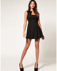 ASOS Collection Black Asos Petite Square Neck Fit and Flare Dress