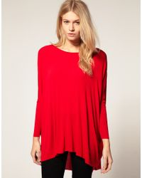 ASOS - Red Loose Drape Long Sleeve Top - Lyst