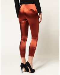 ASOS Collection - Brown Asos Skinny Trouser with Metallic Finish - Lyst
