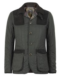 Barbour | Gray Olive Waxed Quilted Sporting Jacket for Men | Lyst