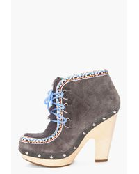 Belle By Sigerson Morrison - Gray Suede Clog Eskimo Boots - Lyst