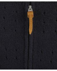 Folk - Blue Navy Pointelle Knitted Zip Cardigan for Men - Lyst