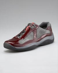 Prada | Red Patent Leather Sneaker for Men | Lyst