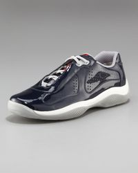 Prada - Blue Perforated Patent Sneaker for Men - Lyst