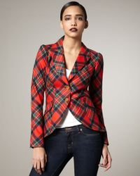 Smythe | Red Elbow-patch Plaid Blazer | Lyst