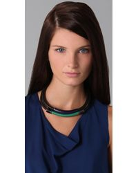 3.1 Phillip Lim - Black Double Leather Circuit Collar Necklace - Lyst