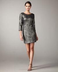 Alberto Makali | Gray Matte-sequin Shift Dress | Lyst