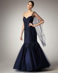 Alberto Makali Blue Sequined Mermaid Gown