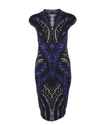Alexander McQueen Blue Butterfly Print Intarsia Pencil Dress