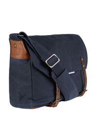 Ally Capellino Blue Navy Waxed Cotton Jeremy Messenger Bag for men