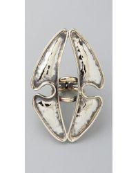 Anndra Neen - Metallic Vertical Hammered Ring - Lyst