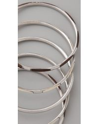 Club Monaco - Metallic Wood & Silver Bangle Set - Lyst