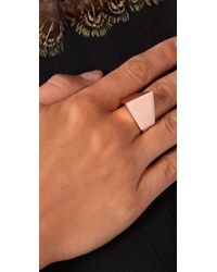 Elizabeth and James - Metallic Architecture Cube Ring - Lyst