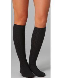 Falke Black Striggings Cable Knit Knee High Socks