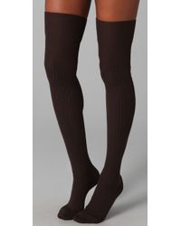 Falke Brown Striggings Ribbed Over The Knee Socks