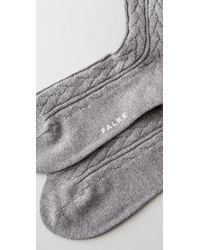 Falke | Gray Striggings Cable Knit Knee High Socks | Lyst