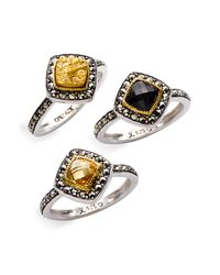 Judith Jack | Metallic Multi Stone Ring (set Of 3) | Lyst