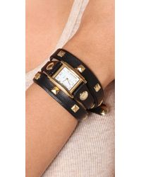 La Mer Collections - Black Pyramid Stud Wrap Watch - Lyst