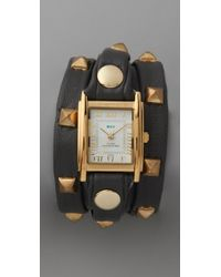 La Mer Collections | Studded Wrap Rectangle Watch Black | Lyst