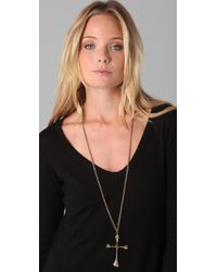 Low Luv by Erin Wasson - Metallic Bone Cross Necklace - Lyst