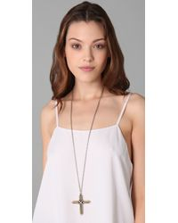 Low Luv by Erin Wasson - Metallic Cross Necklace - Lyst