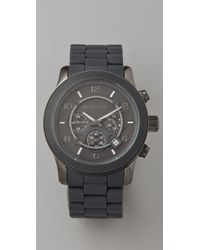 Michael Kors | Gray Round Oversized All Black Watch | Lyst