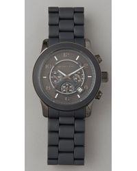 Michael Kors - Gray Round Oversized All Black Watch - Lyst