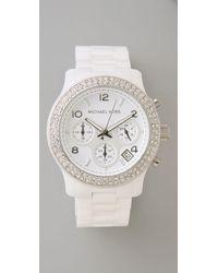 Michael Kors White Glitzy Ceramic Watch