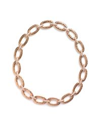 Nadri | Metallic Hammered Pavé Link Necklace | Lyst