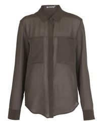 T By Alexander Wang | Brown Taupe Sheer Silk Shirt Blouse | Lyst