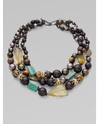 Alexis Bittar | Metallic Three-row Semi-precious, Multi-stone Necklace | Lyst