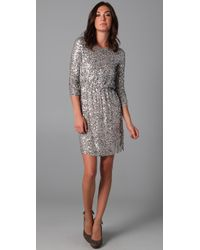 Alice + Olivia | Metallic Ritchie Embellished Blouson Dress | Lyst