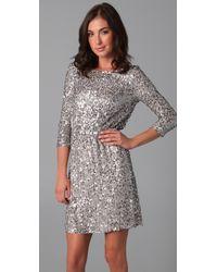 Alice + Olivia - Metallic Ritchie Embellished Blouson Dress - Lyst