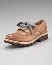 Brunello Cucinelli | Brown Ribbon-laced Oxford Flat | Lyst