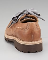 Brunello Cucinelli - Brown Ribbon-laced Oxford Flat - Lyst