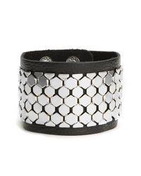 Cara | Black Leather & Metal Cuff | Lyst